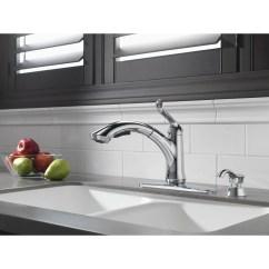 Water Efficient Kitchen Faucet Vintage Table Delta Chrome Finish Linden Collection Single Handle Pu Faucetlist Com