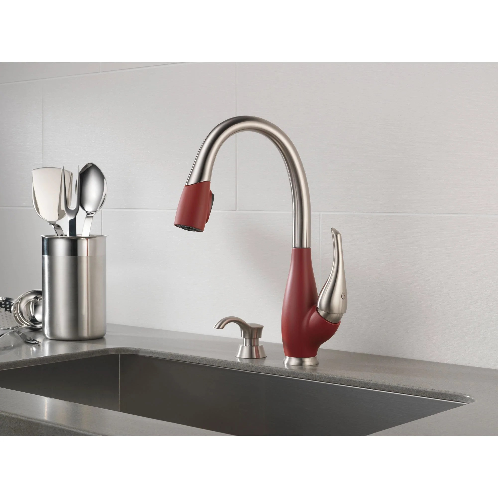 delta fuse collection stainless steel and red finish single handle pull down kitchen sink faucet and deck mounted soap dispenser package d075cr