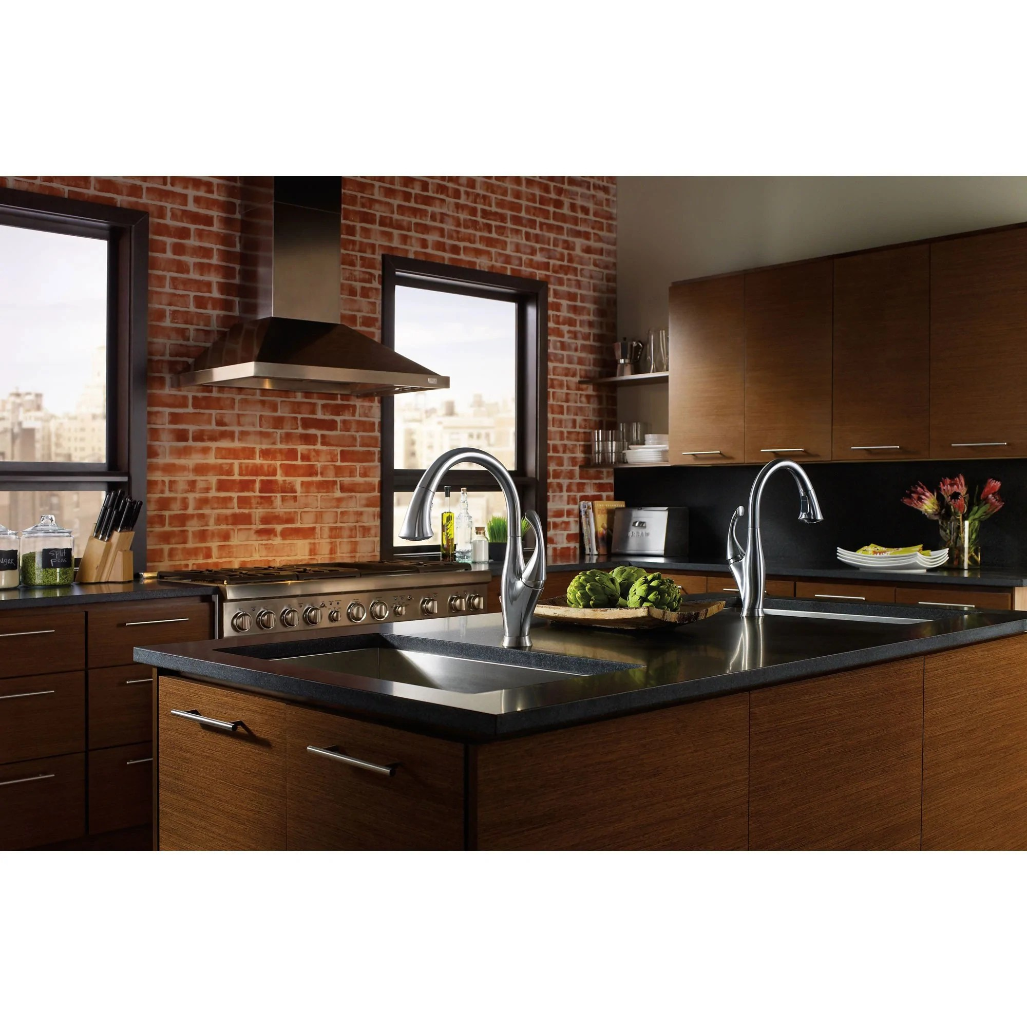 water efficient kitchen faucet painting cabinet ideas delta arctic stainless finish addison single handle pull down and out