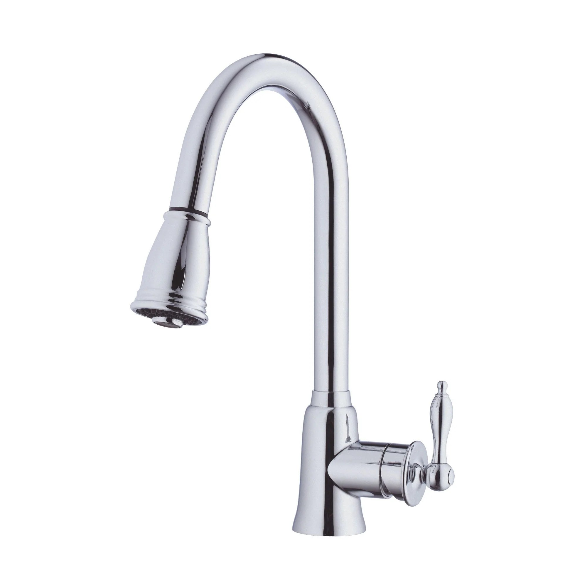 gooseneck kitchen faucet with pull out spray cabinets.com danze prince chrome single handle down