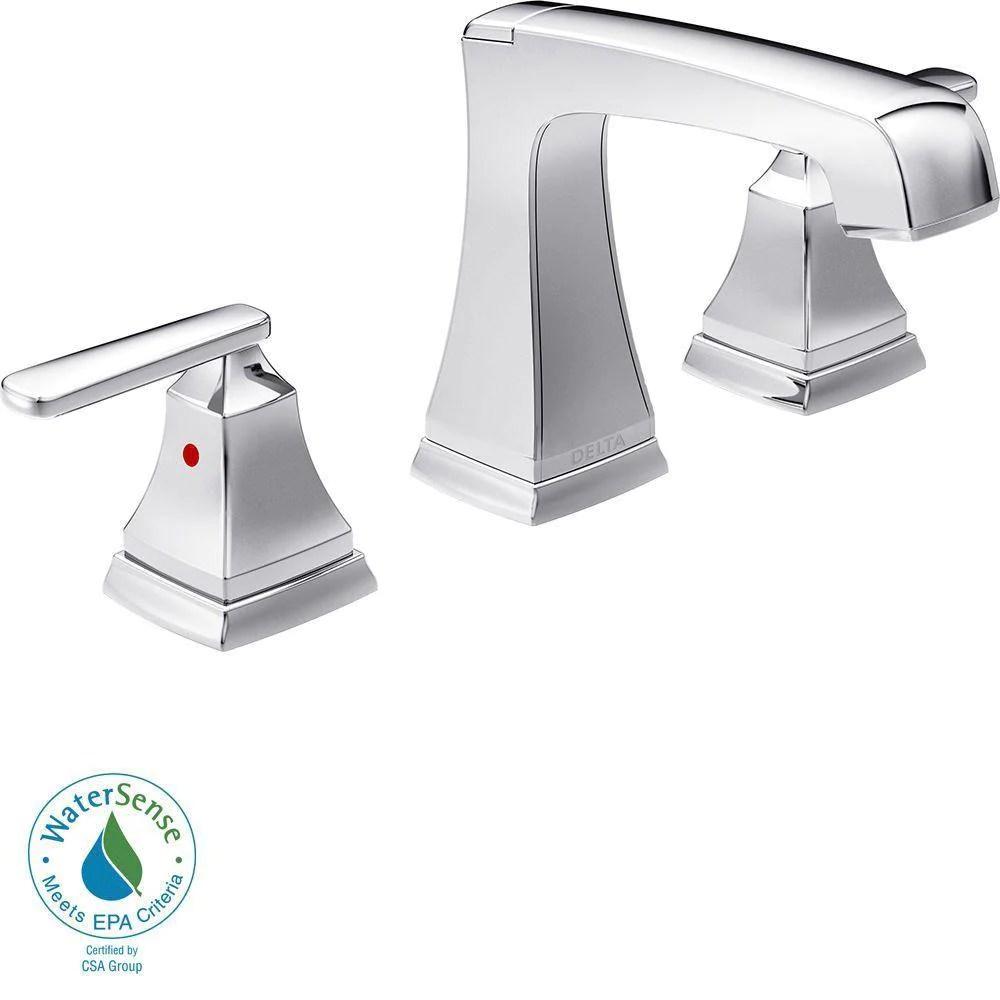 delta ashlyn 8 inch widespread 2 handle high arc bathroom faucet in chrome 685347
