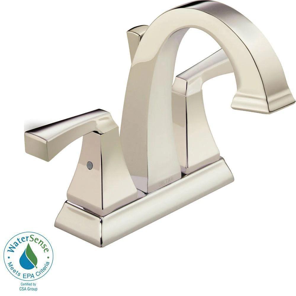 delta dryden 4 inch centerset 2 handle bathroom faucet in polished nickel with metal pop up 702287