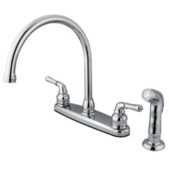Four Hole Kitchen Faucets Designer Sinks 4 Get A Sink Faucet Kingston Brass Chrome Double Handle With Side Sprayer Kb791sp