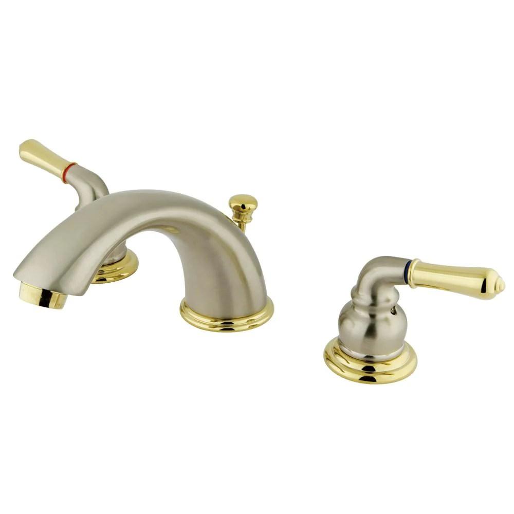 kingston satin nickel polished brass 8 16 widespread bathroom faucet kb969