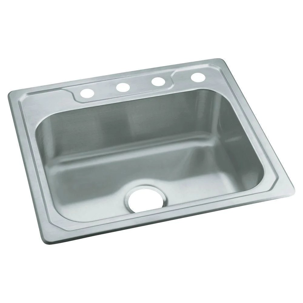 sterling middleton drop in stainless steel 25 inch 4 hole single bowl kitchen sink 663149