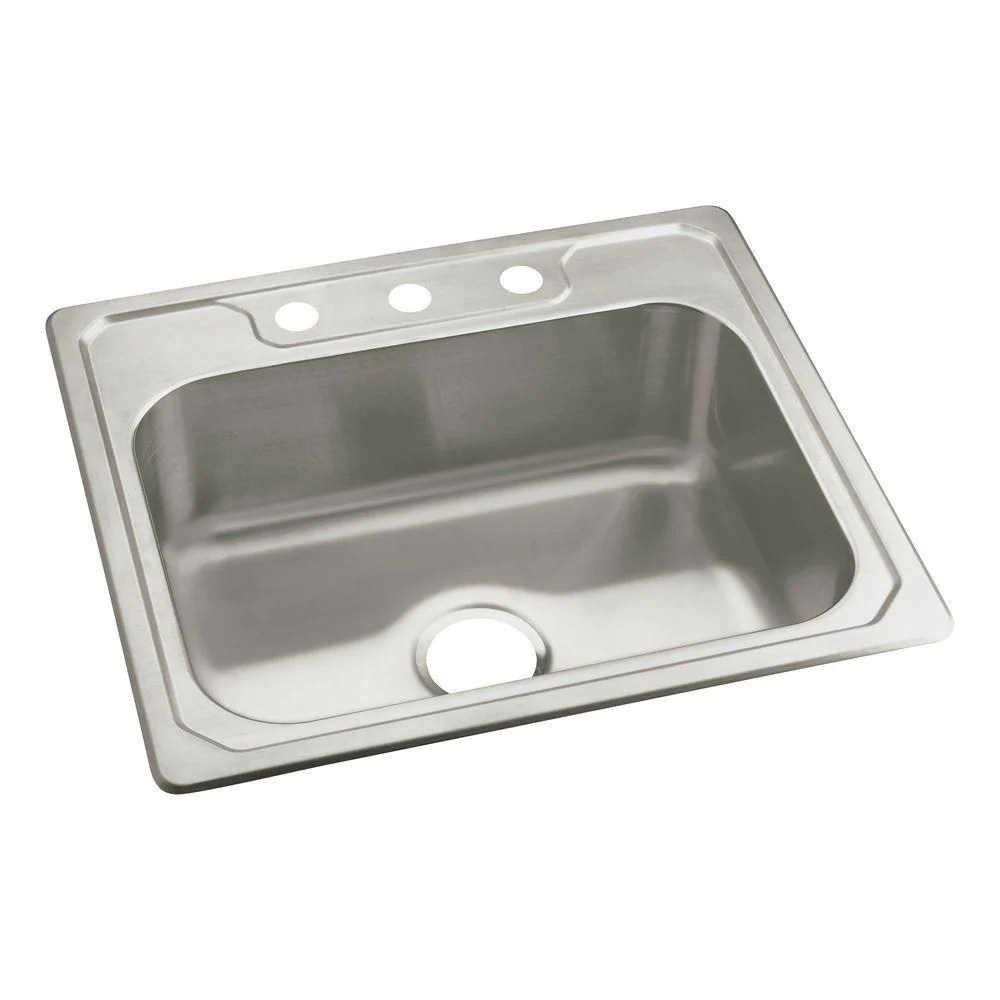 22 inch kitchen sink wine decor accessories sterling middleton drop in stainless steel 3 hole single bowl