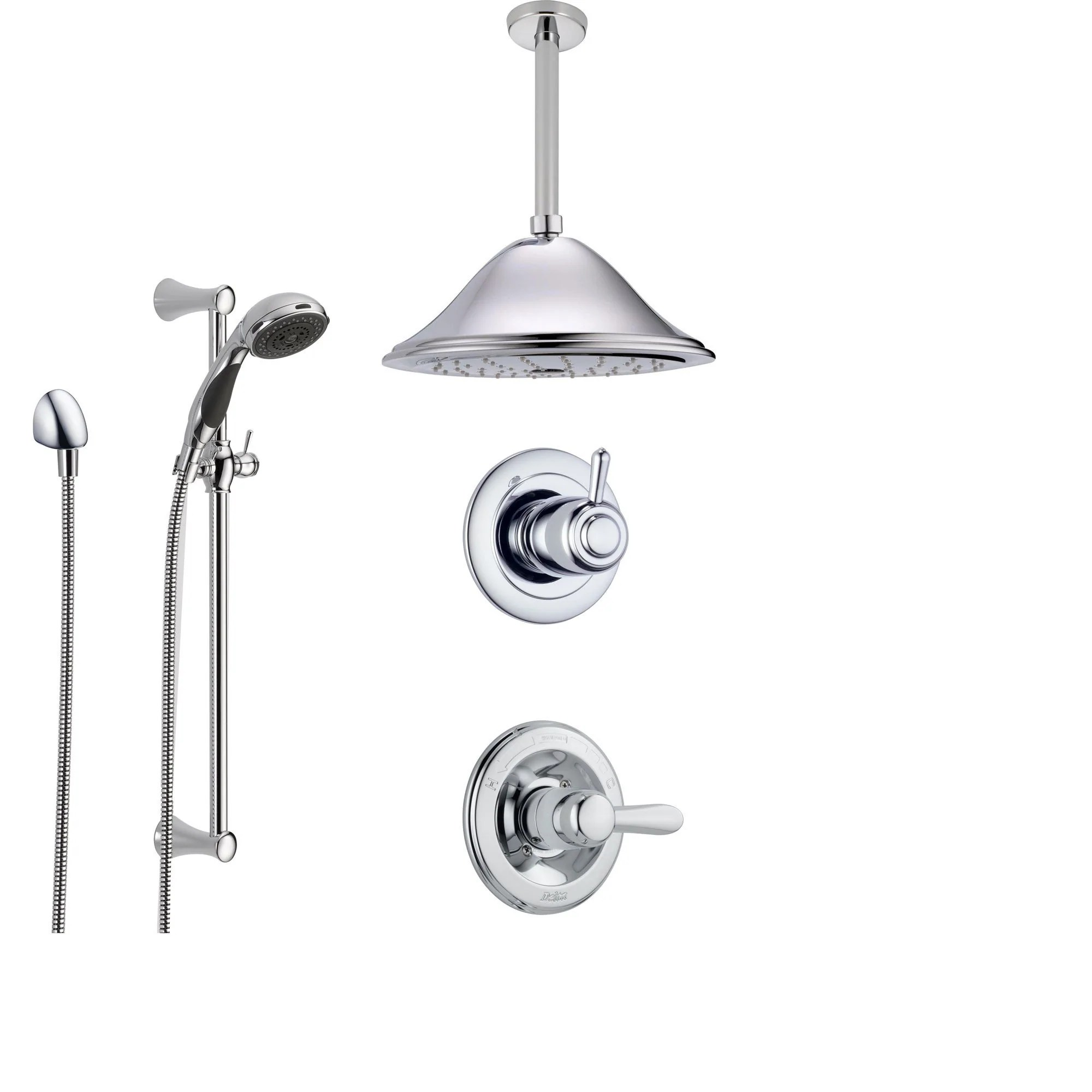 Delta Lahara Chrome Shower System With Normal Shower Handle 3 Setting Diverter Large Ceiling Mount Rain Showerhead And Handheld Shower Ss143882