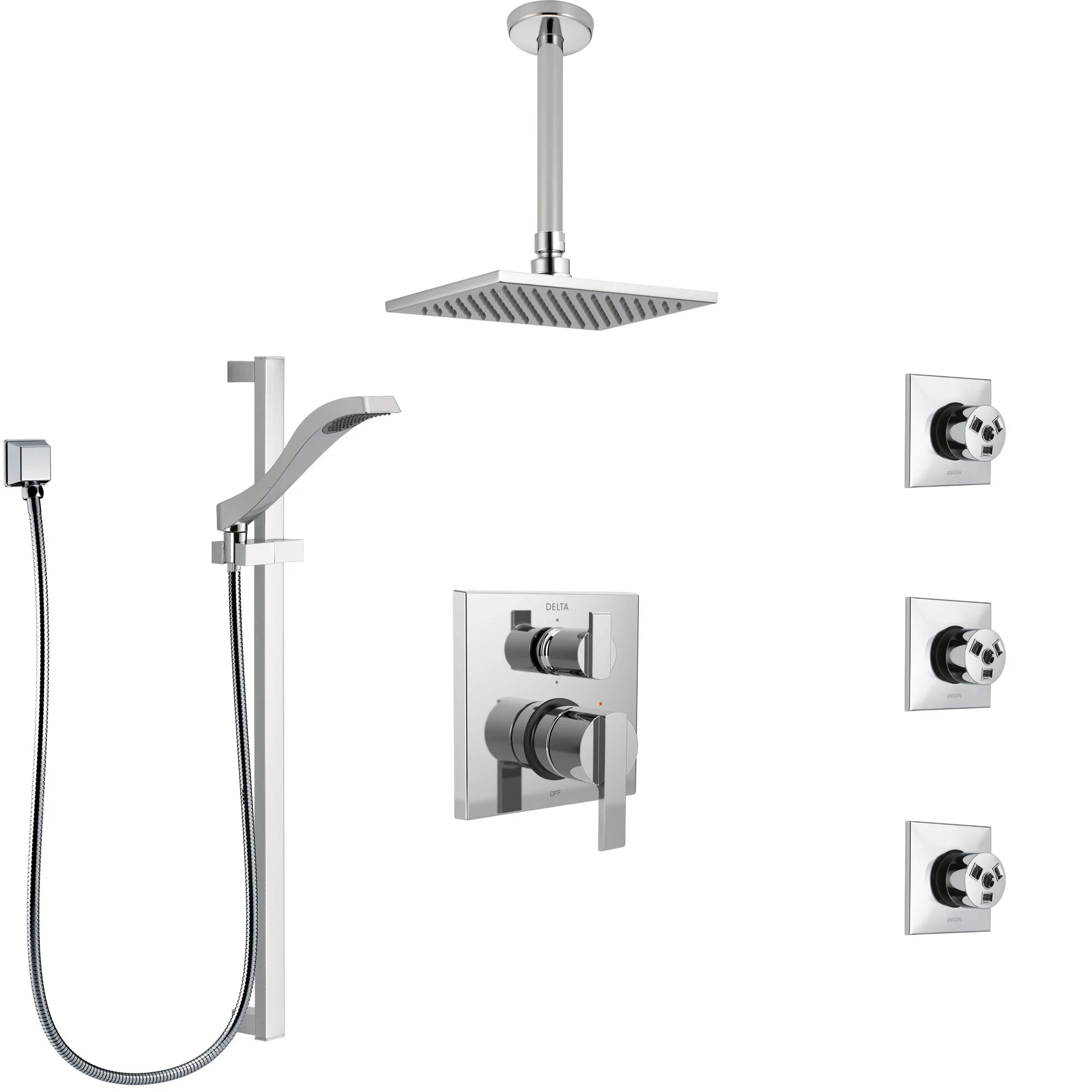 Delta Ara Chrome Shower System With Control Handle Integrated 6 Setting Diverter Ceiling Mount Showerhead 3 Body Sprays And Hand Shower Ss249678