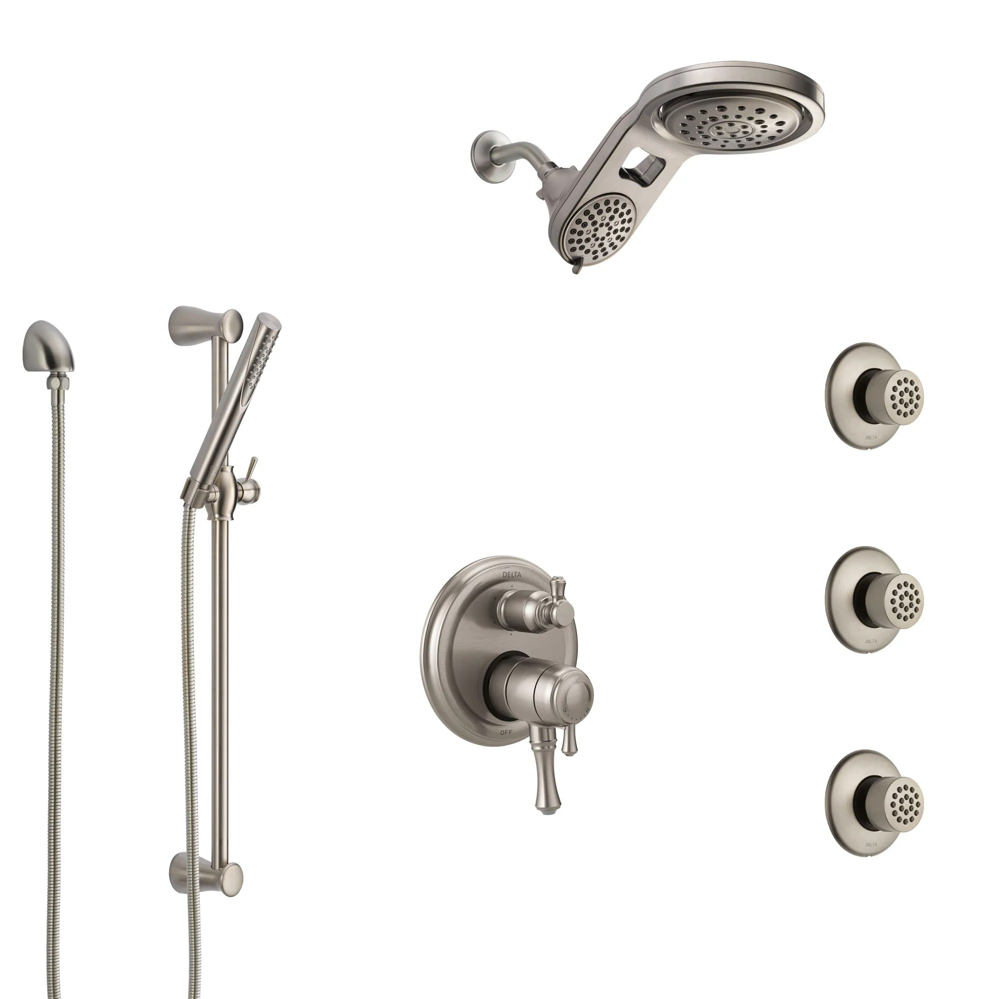 Delta Cassidy Dual Control Handle Stainless Steel Finish Integrated Diverter Shower System Dual Showerhead 3 Body Sprays And Hand Spray Ss27997ss11
