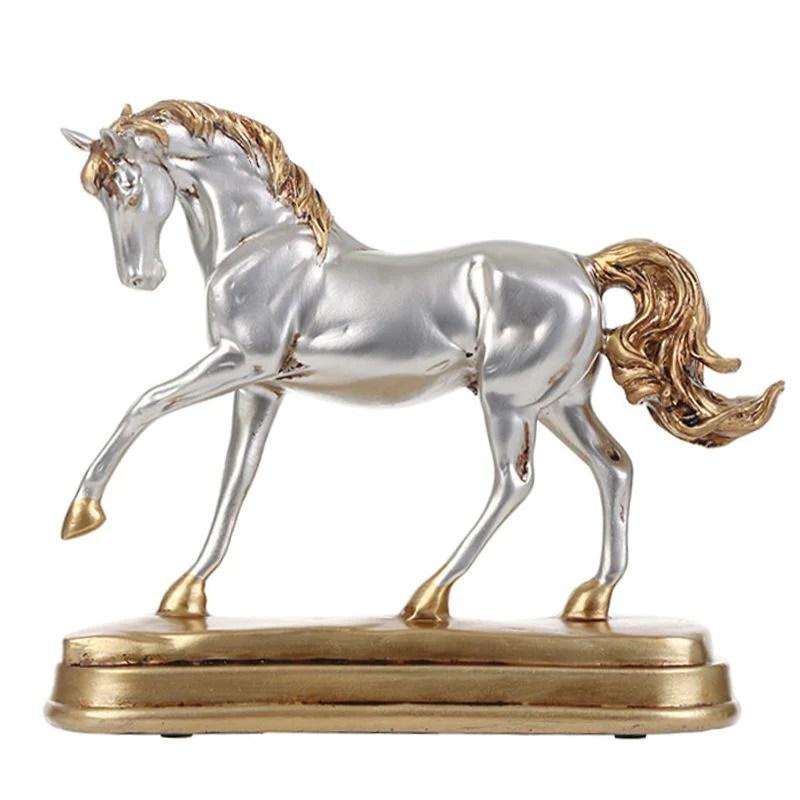 objet deco statuette cheval en resine effet bronze ou argent