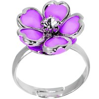Light Purple Enamel Five Petal Blooming Flower Adjustable ...