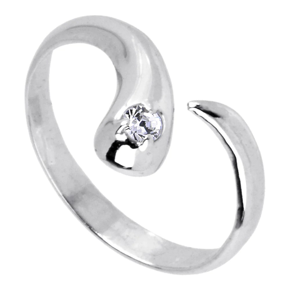 10k White Gold Cubic Zirconia Solitaire Flare Toe Ring