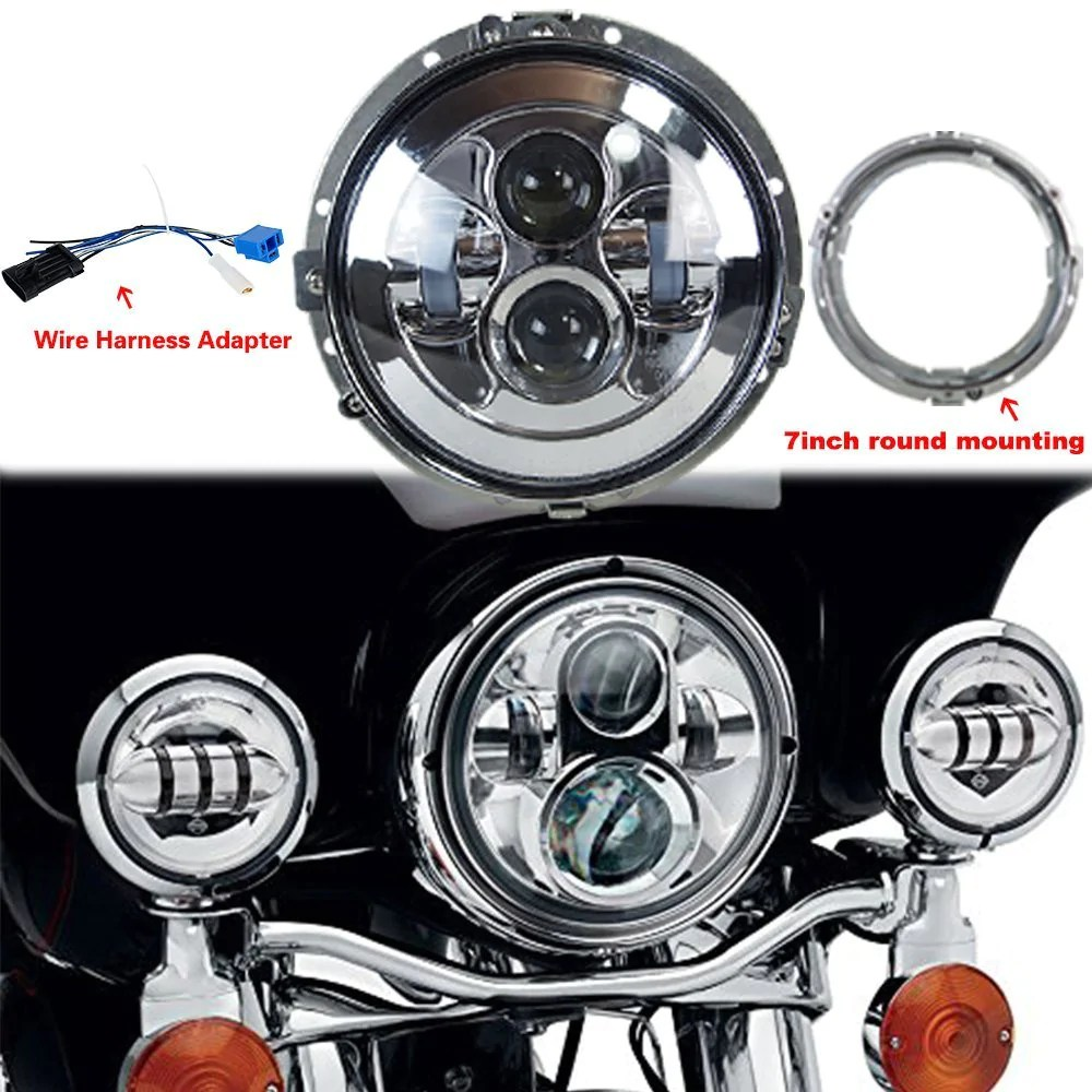 7 80w led headlight for harley davidson with 4 5 60w auxiliary lights and ring mounting bracket [ 1000 x 1000 Pixel ]