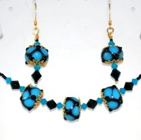 Blue and Black Coordinated Jewelry Set, Necklace and