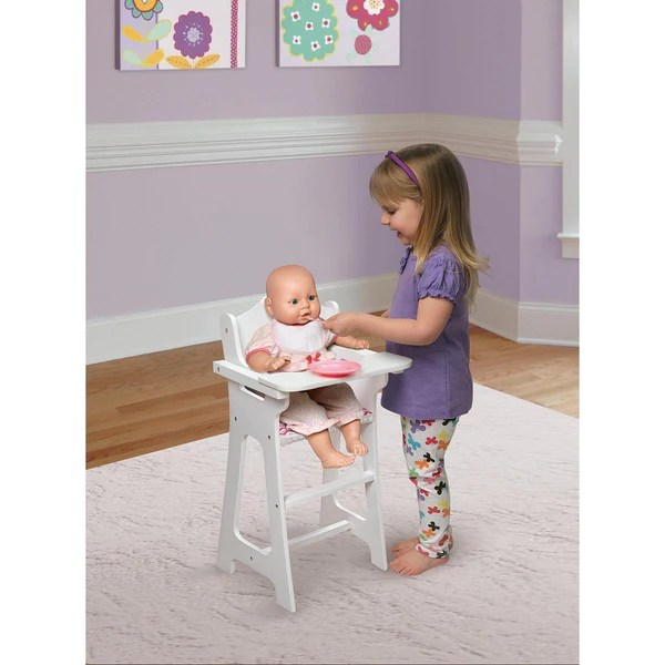 Badger Basket Doll High Chair with Plate Bib Spoon