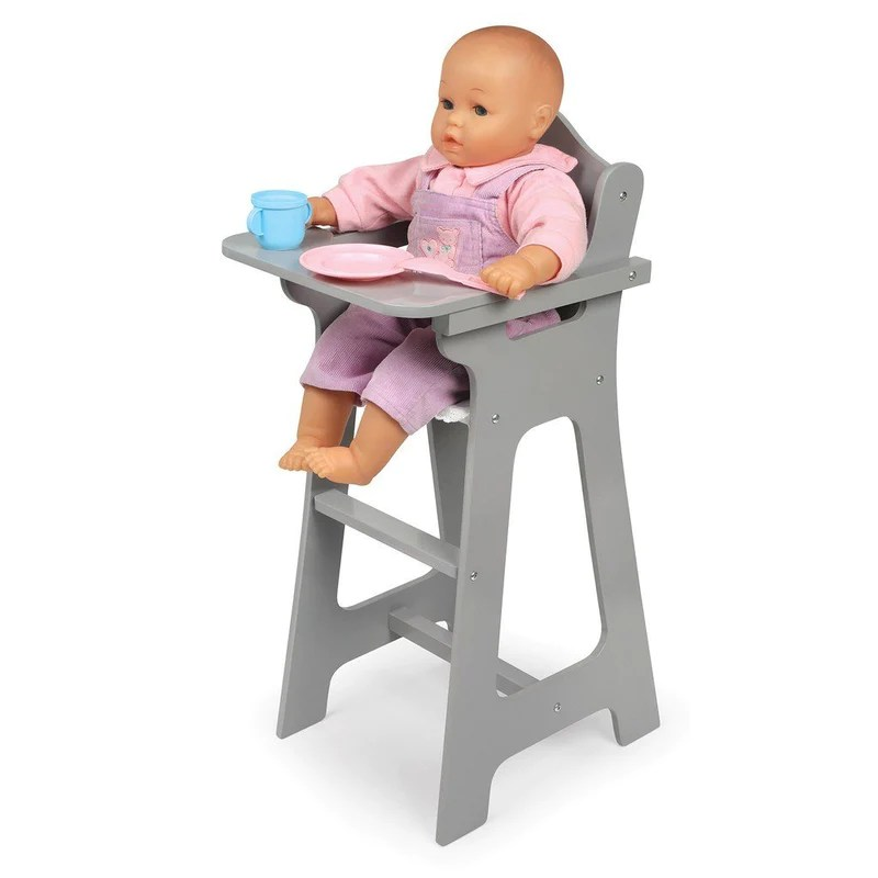 badger basket high chair trampoline amazon executive gray doll dolls