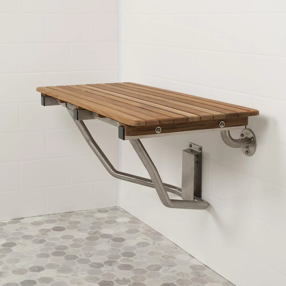 teak shower chairs with arms sit stand chair 32 wide ada wall mount seat teakworks4u rectangular compliant bench
