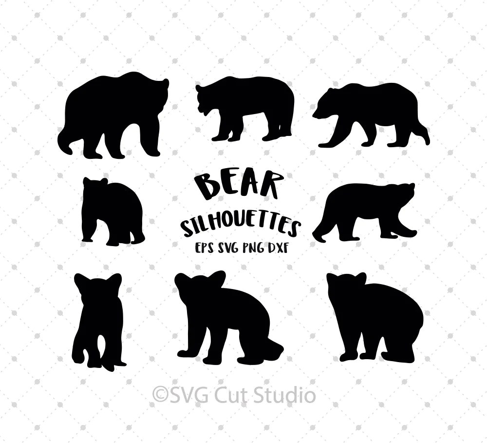 Download SVG Cut Files for Cricut and Silhouette - Bear Silhouettes ...