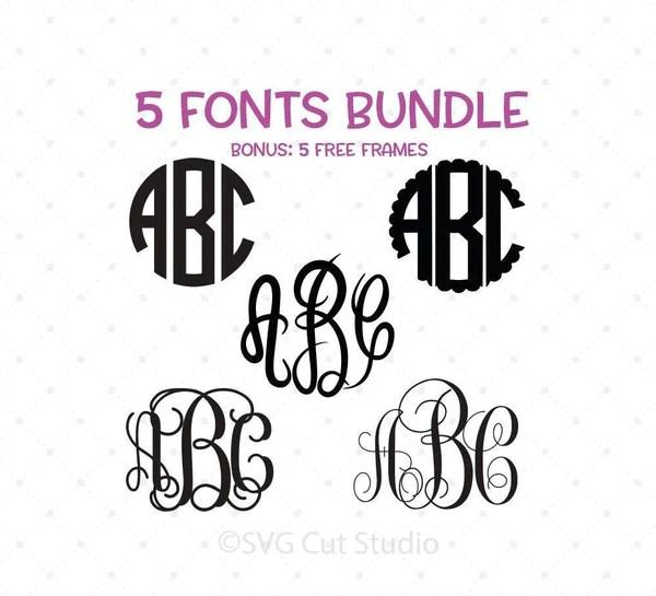 Download Monogram Font Bundle SVG PNG DXF Cut Files for Cricut and ...