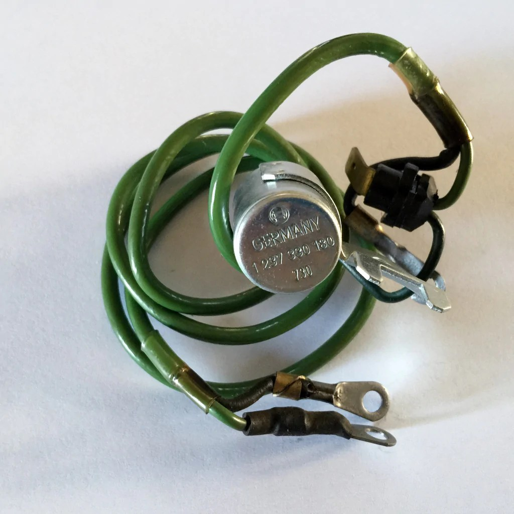 new genuine mercedes benz ignition condenser green long wire w114 250c 250 w108 280s [ 1024 x 1024 Pixel ]
