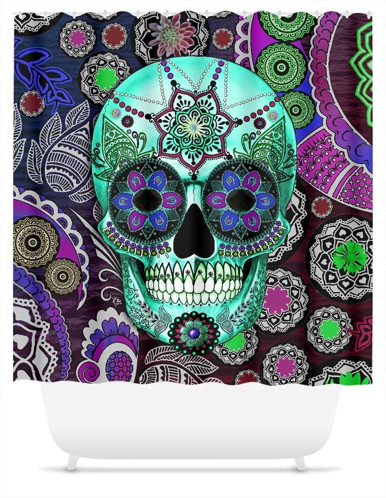 purple paisley sugar skull shower curtain sombrero night