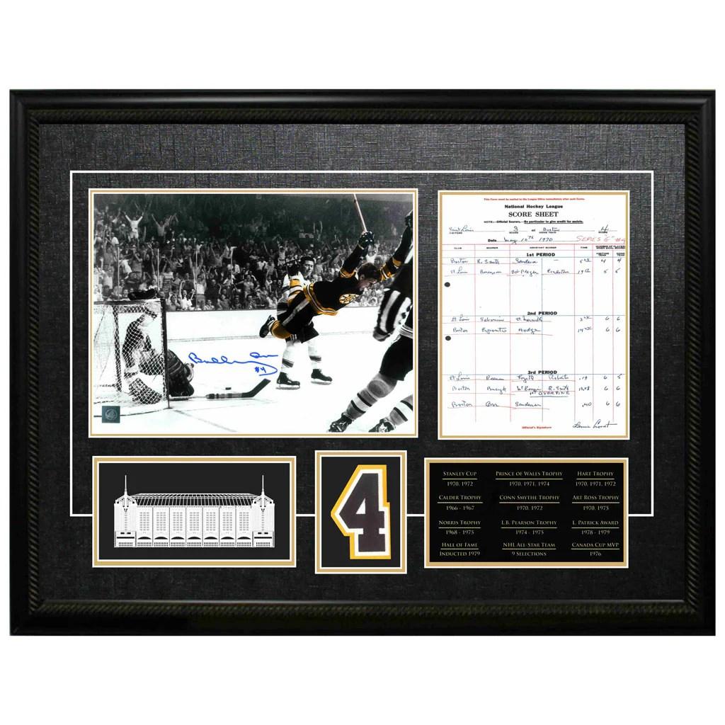 """Orr Bruins Signed """"the Goal"""" Photo And Scoresheet Framed"""