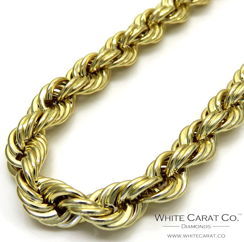 10k Gold Rope Chain - 6.5 Mm White Carat