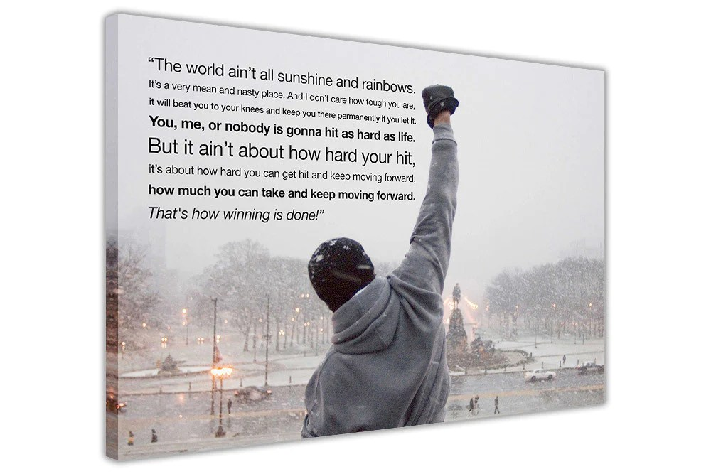 iconic rocky balboa inspirational quote on framed canvas wall print