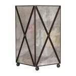 Antique Mirror Crosshatch Wastebasket By Worlds Away Fig Linens