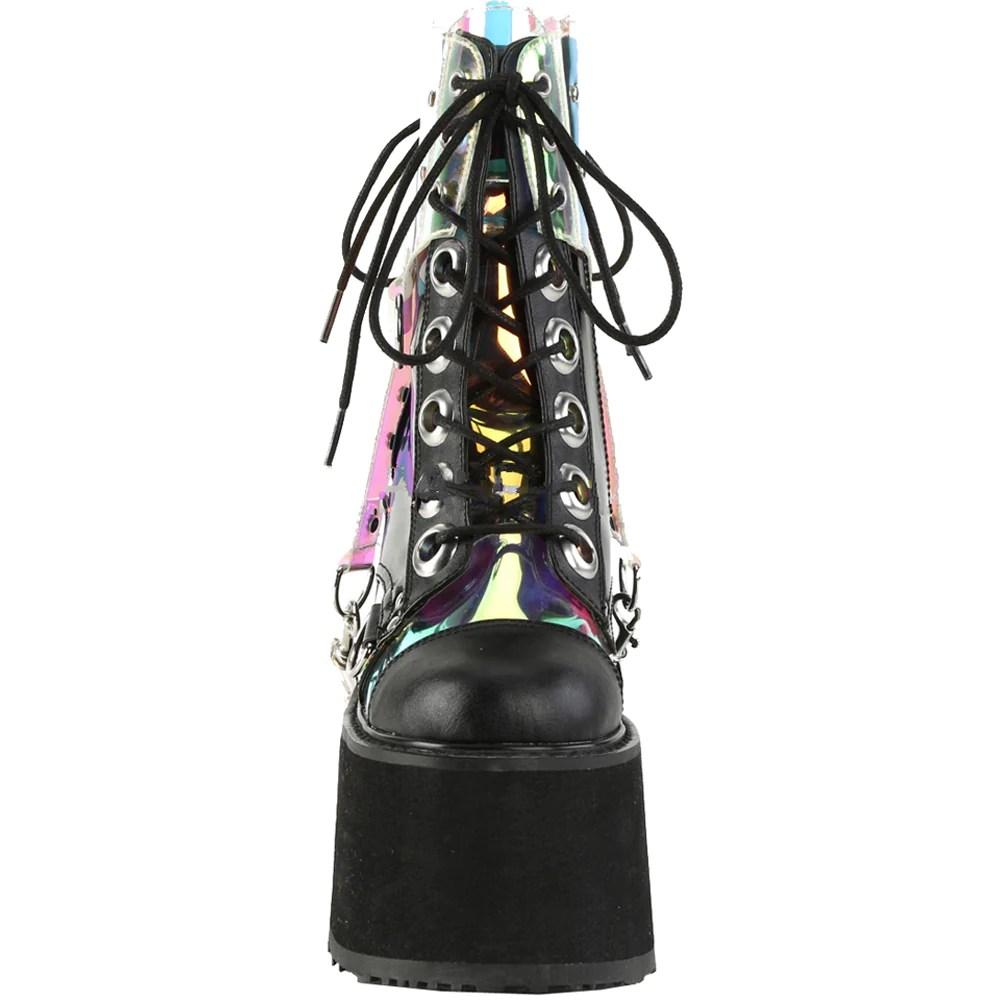 women s demonia swing 115 platform hologram harness ankle boot black patent goth [ 1001 x 1001 Pixel ]