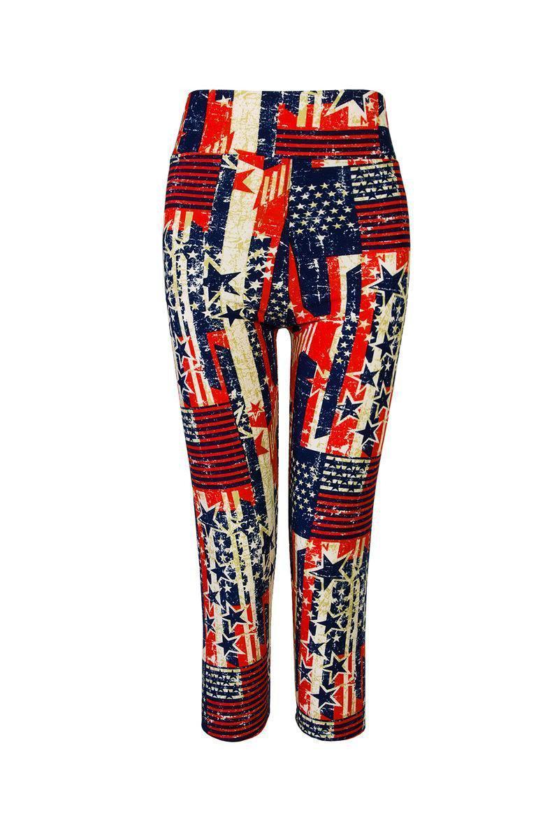 Capri Sports Leggings High Waist Floral Print Pants