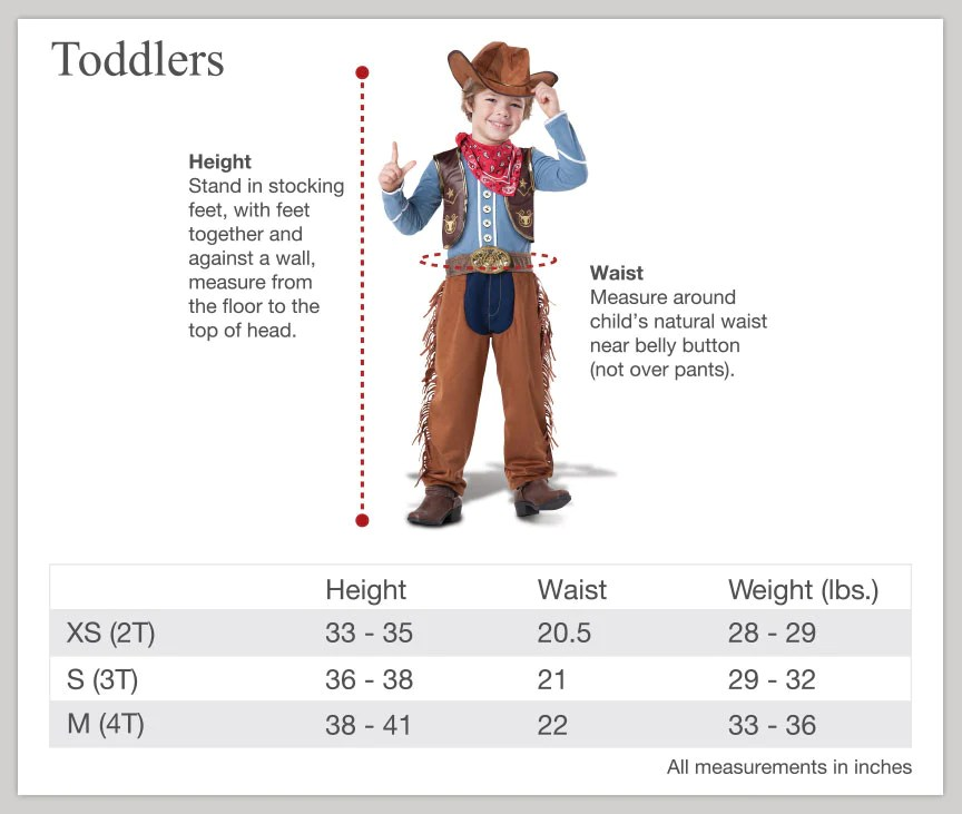 Size charts also  incharacter costumes rh