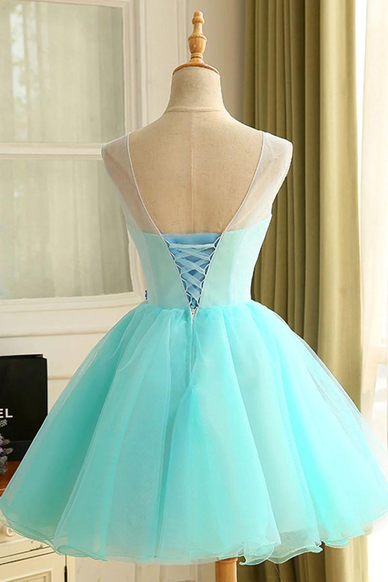 Cute Blue Organza Short Prom Dress Homecoming