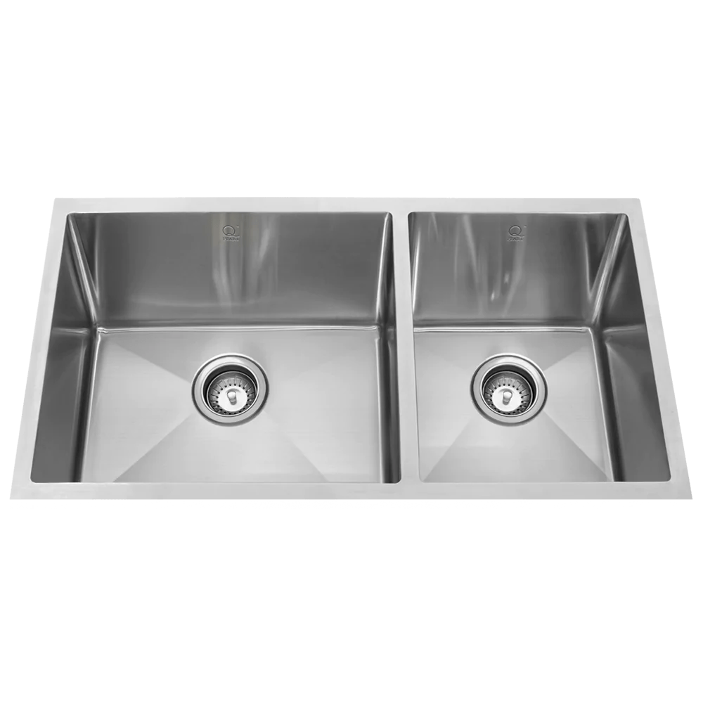 ss kitchen sinks nook seating qila sl 16 gauge double offset bowl stainless steel sink