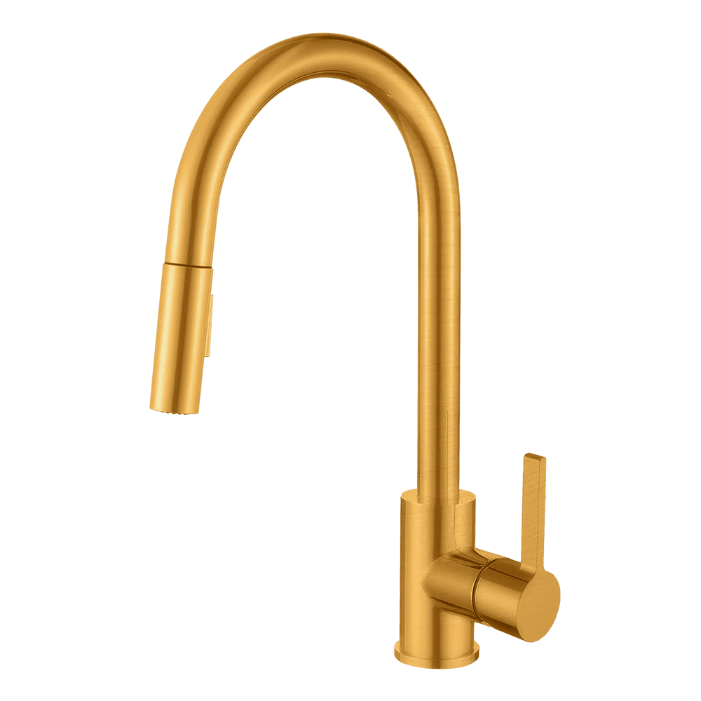 gold kitchen faucet red clock santino champagne with dual spray pull down