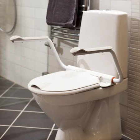 Toilet Seat with Adjustable Armrests for Safety  Support