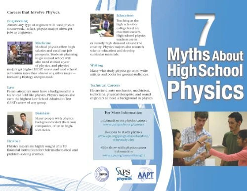 7 Myths Of High School Physics Brochure English – APS