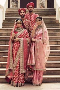 Sabyasachi Pink-Red Benarasi Saree
