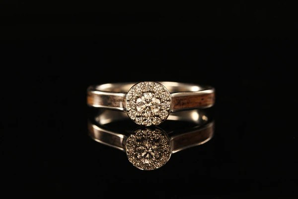 JACK DANIELS WOOD 14K WHITE GOLD DIAMONDS HALO RING