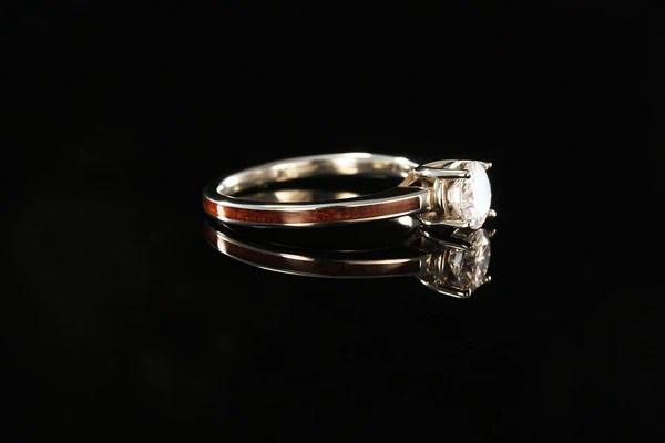 Hawaiian Koa Wood and 14K White Gold Diamond Ring  Chasing Victory