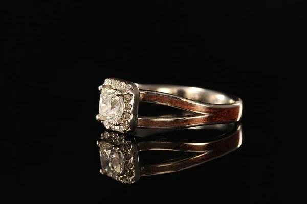 Cushion Cut Halo Diamond Koa Wood Engagement Ring