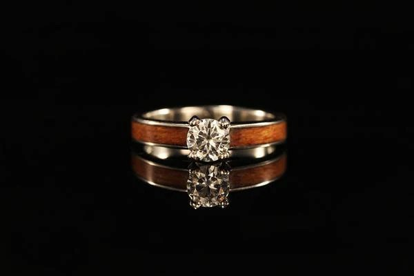 Womens Wood Ring  14K White Gold Diamond Tiffany Ring  Chasing Victory
