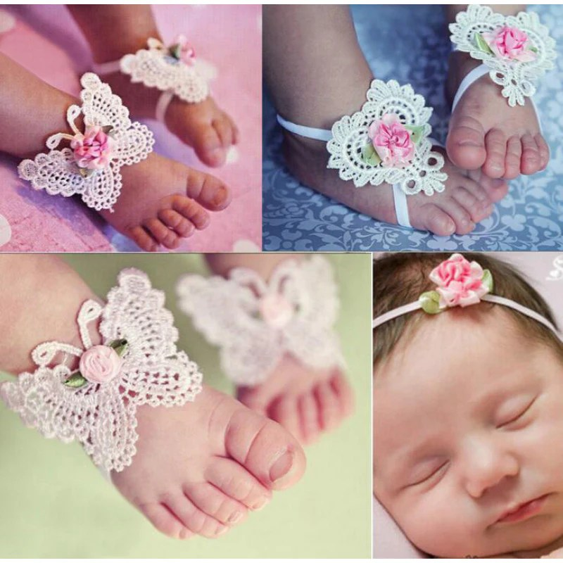 Baby Barefoot Sandals for Flower Girls
