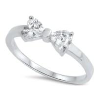 Petite Dainty Heart Ribbon Bow Tie Ring Heart CZ Rose Gold ...