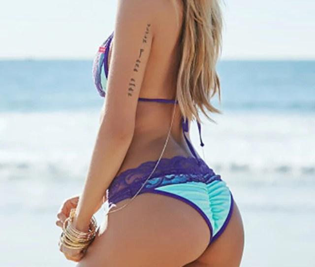 Maui Mint Orchid Lace Triangle Scrunch Butt Sexy Bikini