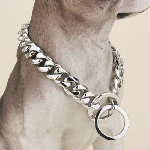 SILVER CUBAN LINK LUXURY DOG CHOKE CHAIN COLLAR – Swole Dogs
