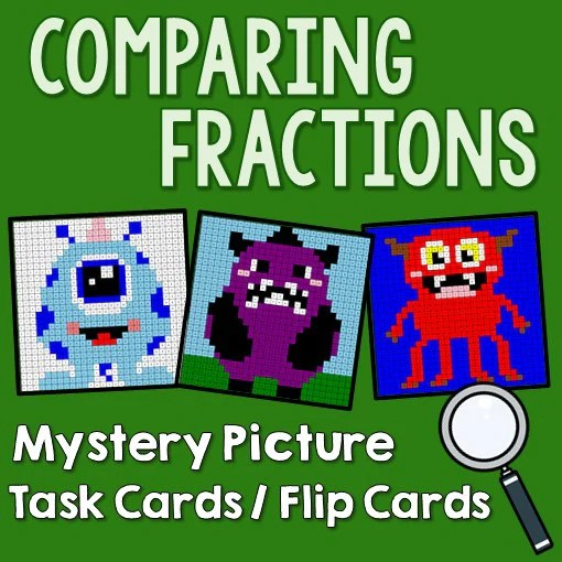 Comparing Fractions Mystery Picture Task Cards With