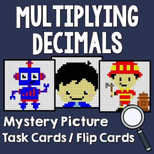 Multiplying Decimals Mystery Picture Task Cards With Coloring Sheets  Printables  Worksheets