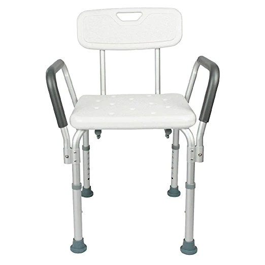shower chair with back and armrests saarinen tulip cushion replacement active authority adjustable skidproof aluminium alloy bath arms seat