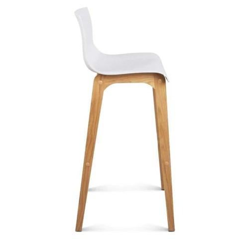 high chair wooden legs antique folding chairs solenne seat back fixed leg oak wood bar stool in white set modern